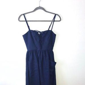 Reformation NWT Ellen Midi Dress (navy) Size 0